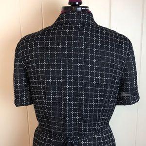 Vintage Dresses - Vintage 80s/90s Black & White Button Down Dress